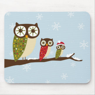 winter owls mouse pad