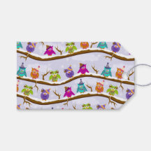 winter owls pack of gift tags