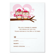Winter Owls Wedding RSVP Cards
