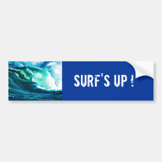 Winter Pacific Surf Oil Painting Car Bumper Sticker