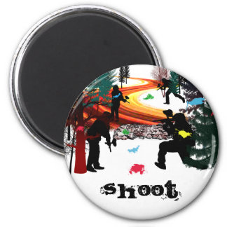Winter Paintball in the Woods 2 Inch Round Magnet