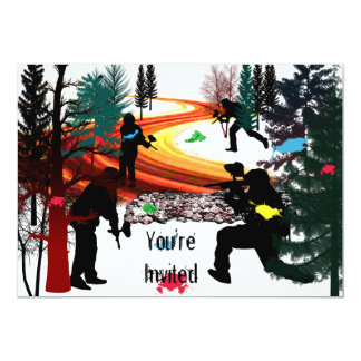 Winter Paintball in the Woods 5x7 Paper Invitation Card