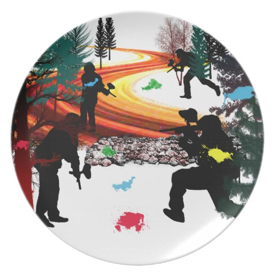Winter Paintball in the Woods Plate