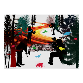 Winter Paintball in the Woods Posters