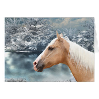 Winter palomino horse cards