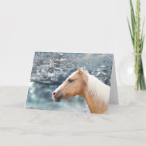 Winter palomino horse holiday card