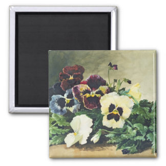 Winter Pansies, 1884 2 Inch Square Magnet