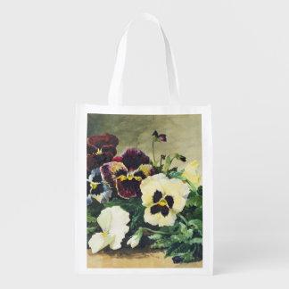 Winter Pansies, 1884 Reusable Grocery Bags
