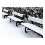 Winter park benches postcard