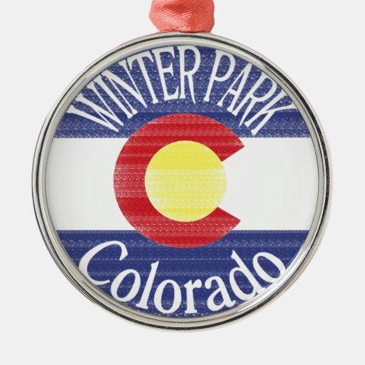 Winter Park Colorado circle flag Christmas Tree Ornaments