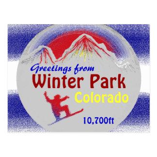 Winter Park Colorado flag greetings artsy postcard