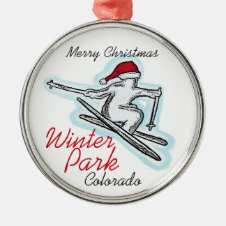 Winter Park Colorado santa skier hat ornament