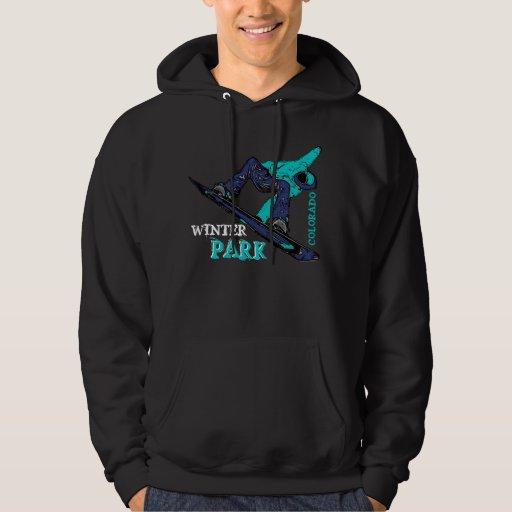 Winter Park Colorado teal snowboarder guys hoodie