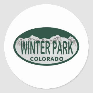 Winter Park license oval Classic Round Sticker