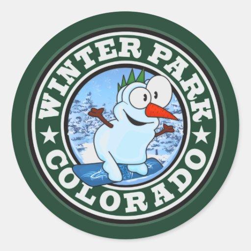 Winter Park Snowman Circle Classic Round Sticker