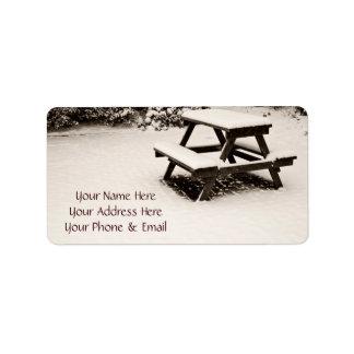 Winter Park White Snow-Covered Dark Wooden Table Address Label
