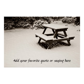 Winter Park White Snow-Covered Dark Wooden Table Poster