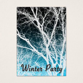 winter party ghost tree business card