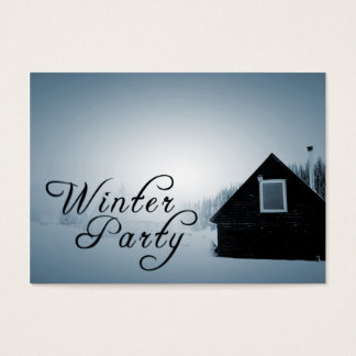 winter party snowed in cabin business card