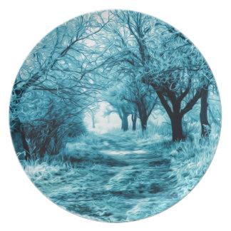 Winter path dinner plates