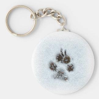 Winter Pawprint Basic Round Button Keychain