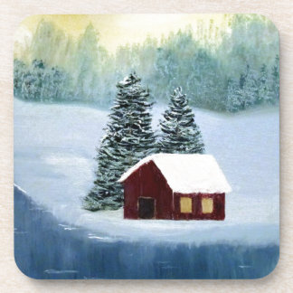 Winter Peace Frozen Ice Snow River Trees Landscape Coaster