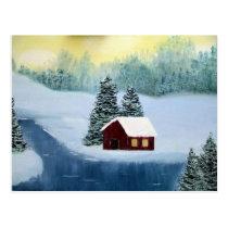 Winter Peace Frozen Ice Snow River Trees Landscape Postcard