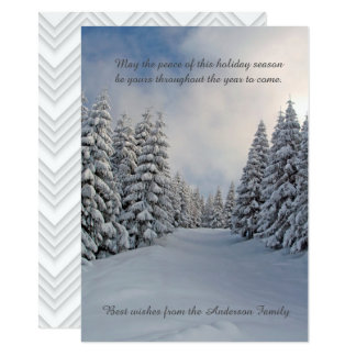 Winter Peaceful Snow Pine Trees Holiday Greetings Card