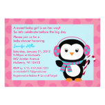 Winter Penguin Candy Cane Baby Shower Invitations