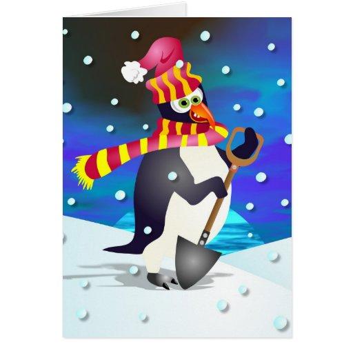 Winter penguin card zazzle for Penguin christmas cards homemade