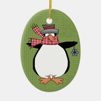 Winter Penguin Ceramic Christmas Ornament