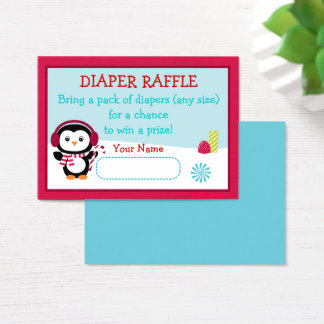 Winter Penguin Diaper Raffle Tickets