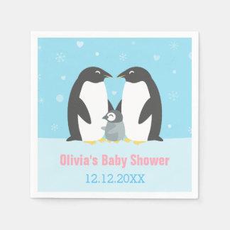 Winter Penguin Family Baby Shower Paper Napkins