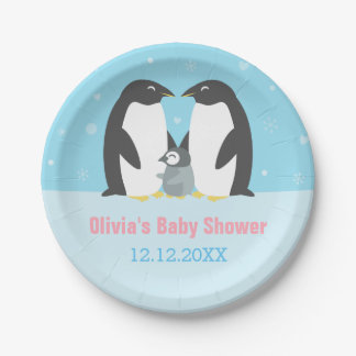 Winter Penguin Family Baby Shower Supplies Paper Plate