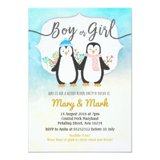 Winter Penguin Gender Reveal party Card