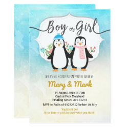 Winter Penguin Gender Reveal party Invitation