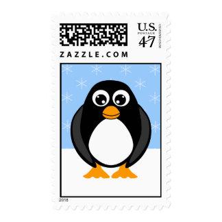 Winter Penguin Postage Stamp
