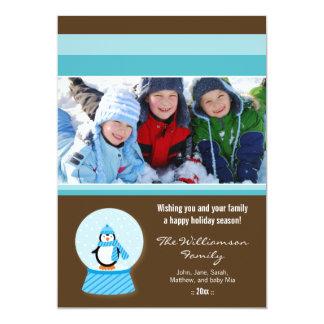 Winter Penguin Snowglobe Family Holiday Card