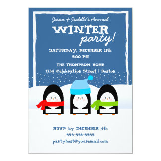 Winter Penguin Trio Snowy Night Party Invitation