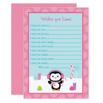 Winter Penguin Wishes for Baby Card