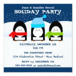 """Winter Penguins Party Invitation 5.25"""" Square Invitation Card"""