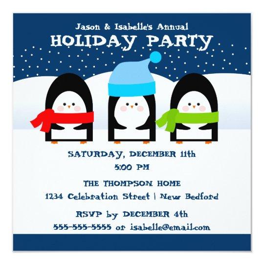 Winter Penguins Party Invitation