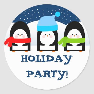 Winter Penguins Party Sticker