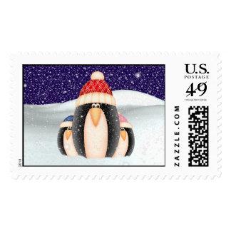 Winter Penguins Postage Stamps