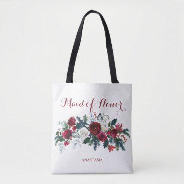 Beach Themed Winter peonies watercolor bouquet maid of honor tote bag