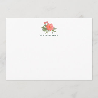 Winter Peony Personalized Stationery Card