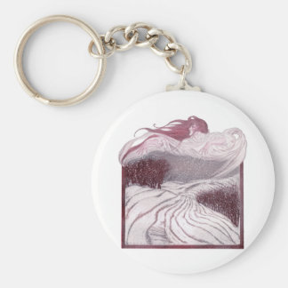 Winter Personified as a Beautiful Woman Basic Round Button Keychain