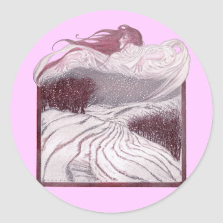 Winter Personified as a Beautiful Woman Round Stickers