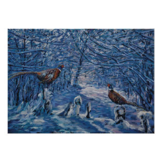 Winter Pheasants Poster