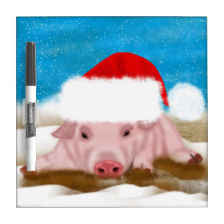 Winter Pig dry-erase board - Pig In Christmas Hat